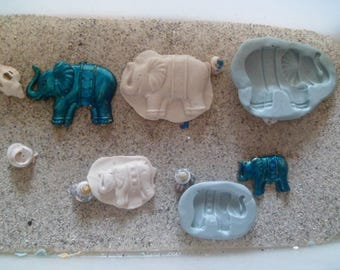 elephant and calf for wepam fimo silicone molds