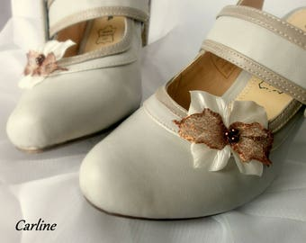 Nolween - Ivory Brown Satin flower shoe Clips
