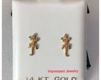 14k Yellow REAL Gold Lizard Gecko Iguana Shaped Screwback children baby stud Earrings