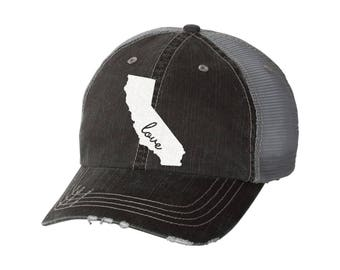 State of California Love Distressed Ladies Baseball Hat | Mesh | Trucker | State | CA