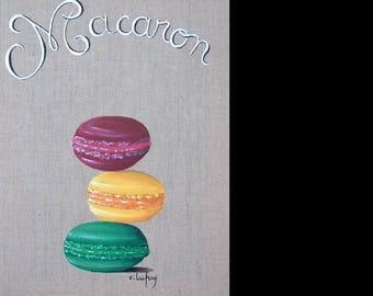 "Painting on linen ""cassis orange pistachio macaroon"""