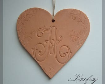 Large ceramic heart lace letter 'A'