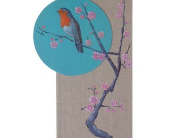 """""""Robin"""" - mixed media painting of Chinese inspiration"""