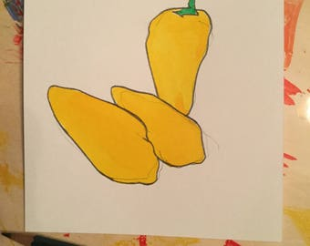 Three Yellow Peppers No. 1        5 X 5