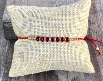14k yellow gold and Rubies beaded necklace