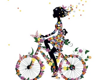 Beautiful Girl Bike Flowers