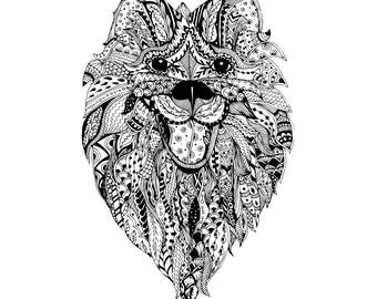Hand drawn dog head illustration with traditional ornaments