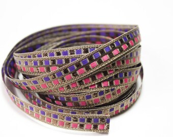 Ribbon braid coppery purple pink 1.4 cm x 1 m