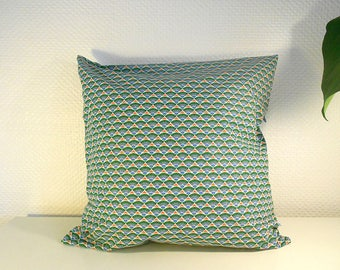 Cushion cover 40 X 40 cm - fan - green blue - 100% cotton Collection