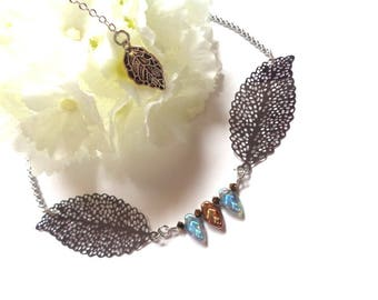 Steel and Czech glass, prints, leaves, silver necklace / blue / copper line jaseron 46.5 42.5 cm