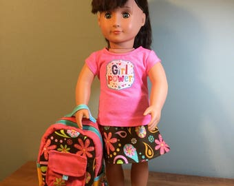 Doll Backpack and Coordinating Reversible Wrap Skirt and Graphic T-Shirt