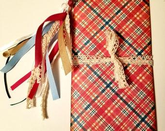 Red and Blue Plaid Traveler's Notebook, Traveler's Notebook Insert, Junk Journal, Planner, Diary, Journal Insert