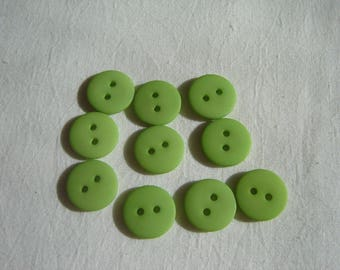 10 buttons round lime green / 18 mm