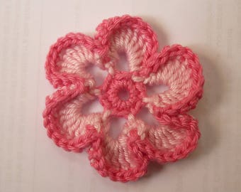 1 light pink and pink - two-tone flower applique crochet