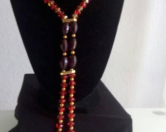 Red and gold necklace and earrings