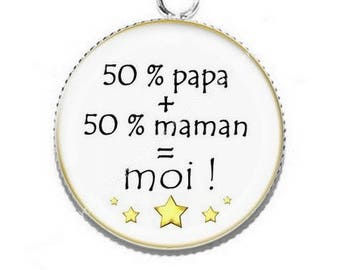 Pendant cabochon 50 Mommy 50 Daddy