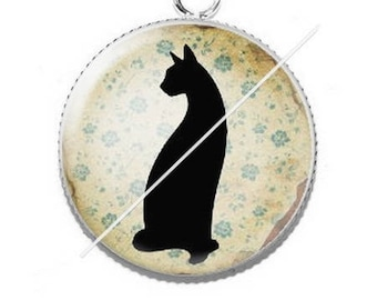 Pendant cabochons 25mm lady and her cat 6