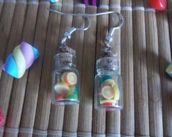 Multifruits glass vial earrings