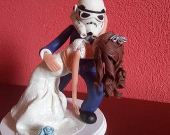 Cake topper wedding personalized wedding porcelain French cold star wars