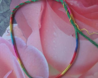 "Friendship Bracelet brings good luck lucky charm cord, green and multicolor ""hope"""