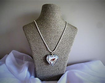 Heart Necklace pendant style Murano glass crystal mirror glass on snake chain plated silver