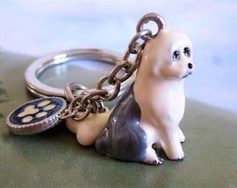 dog Keychain, accessories Bobtail race key enamelware 10 cm