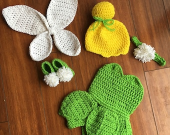 crochet Tinkerbell outfit, Tinkerbell costume, Tink outfit, Tinkerbell hat, Tinkerbell Booties, Tinkerbell dress, halloween costume