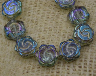 5 flower glass beads blue iridescent colors pink 15mm