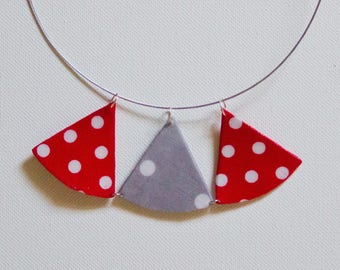 Pendant papyrus red and gray polka dot trio