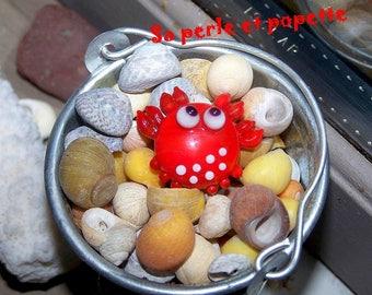 Lampwork Glass red crab