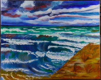 Tempestuous Lake, Original Oil Painting