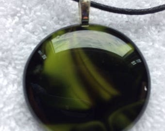 Black & Olive Green Polished Glass Pendant on a Black Leather Cord