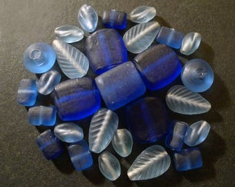 28 blue frosted Indian glass beads