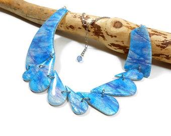 Bib Necklace blue, blue necklace, geometric necklace, asymmetrical bib necklace, Bohemian style necklace, necklace wedding gift idea