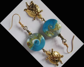 """3 Micron (French standard) """"Direction the ocean"""" gold plated earrings"""
