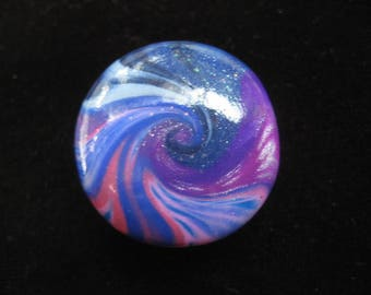 CHEAP: Cabochon ring spiral blue/plum shades of polymer clay (fimo)