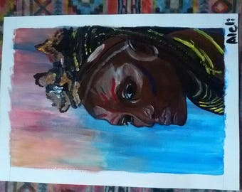 African Woman Painting on A3 Canvas Paper, 29.8 X 42.7 cm