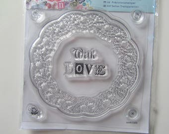 Stamp Clear representing a Crown with inscription with Love and flowers and buttons