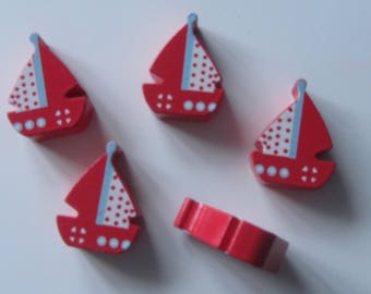 Bag of 5 large red wooden boats sail with polka dots