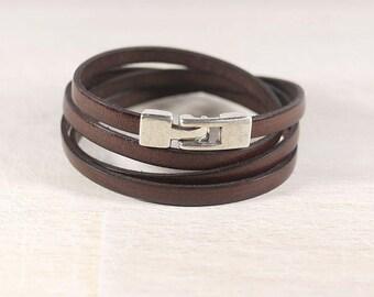 Dark Brown Leather Strip 5mm - 4 turns - Bracelet leather women bracelet