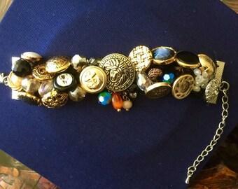 Handmade vintage Button cuff