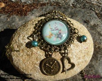 Alice's rabbit in wonderlands Fairy Necklace- Fantasy Pendant Collar- Fairytale Jewel- Legend and tale fairy jewelry- Little girl necklace