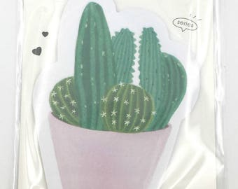 1 pad adhesive paper cactus - stationary - office supplies