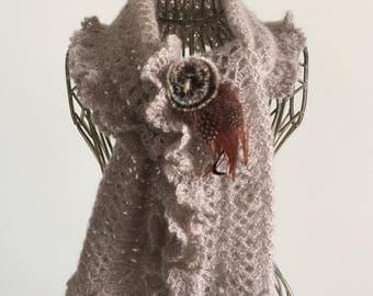 Taupe scarf mohair/silk yarn