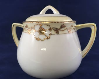 Antique Hand Painted Gold Trim Nippon Sugar Bowl
