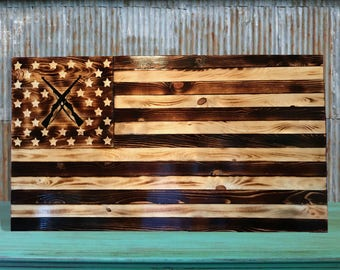 Rustic Wooden American Flag || Infantry Riffle Flag || Wood American Flag || Carved Wooden Flag || Farmhouse Wooden Flag || Distressed Flag