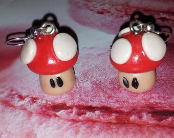 Red MARIO mushroom, handmade earring with polymer clay
