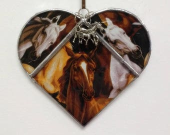 Stained Glass Heart Wild Horses ~ Two-Sided ~ 5.5  Inches with Love and Horse with Colt Charms