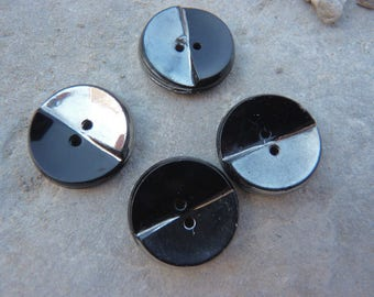 Set of 4 buttons vintage black glass round shiny silver paint on half of the surface, diameter 1.8 cm relief