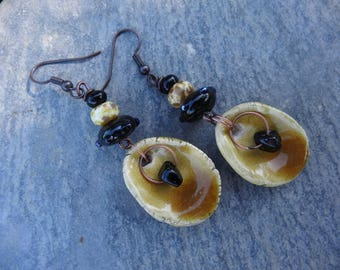 "Earrings ""shells"" rustic - spun glass, gem stone, ceramic,"